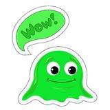 Zegt het beeldverhaal groene monster wauw in de bel Stock Foto