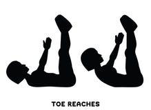 Zehenreichweiten knirschen Doppelte Krise Sport exersice Schattenbilder der Frau Übung tuend Training, bildend aus vektor abbildung