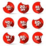 Zehn bis neunzig Prozent weg von den roten Aufklebern Lizenzfreie Stockbilder