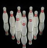 Zehn Bowlingspielstifte Stockfoto