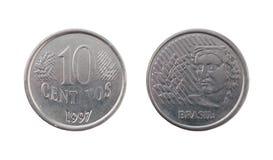 Zehn brasilianische wirkliche Centavos Stockbild