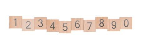 Zehn child's Holzklötze Stockbilder
