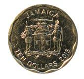 Zehn Dollar Münze Bank von Jamaika Stockbilder
