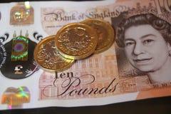 Zehn fünf eine Pfundmünzenanmerkung 10, 5, 1, Lizenzfreies Stockbild