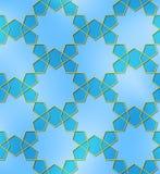 Zehn gezeigte blaue Goldene des nahtlosen Musters des Sternes Stockfotos