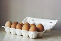 Zehn Hühnereien in der Schaumverpackung, Weinleseeffekt Stockfotografie