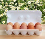 Zehn Hühnereien in einem weißen Paket auf dem Tisch Lizenzfreie Stockbilder