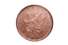 Zehn, Kronen Die Währung der Tschechischen Republik Makrofoto einer Münze Tscheche stellt eine Zehnkrona-Münze dar Lizenzfreies Stockbild