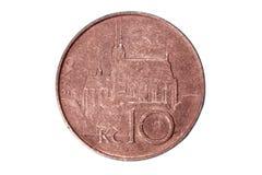 Zehn, Kronen Die Währung der Tschechischen Republik Makrofoto einer Münze Tscheche stellt eine Zehnkrona-Münze dar Lizenzfreie Stockbilder