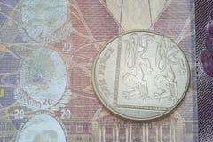 Zehn Pennys über Anmerkungsdetail Stockbild