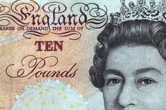 Zehn Pfund Banknoteengland. Lizenzfreies Stockbild