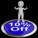 Zehn Prozent weg vom Knopf zeigt 10 weg vom Produkt Stockfotografie