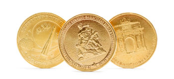 Zehn russische Rubel Münze lokalisiert Stockfotografie