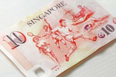 Zehn Singapur-Dollar mit einer Anmerkung 10 Dollar Stockbilder