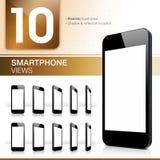 Zehn Smartphone-Ansichten - realistisch Stockfotografie