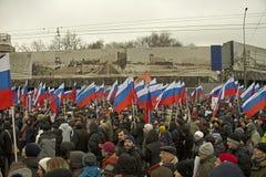 Zehn Tausenden marschieren zum Gedenken an ermordeten Boris Nemtsov am 1. März 2015 Stockfoto