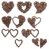 Zehn von Herzen von den Kaffeebohnen Stockfotografie