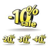 Zehn, zwanzig, dreißig, vierzig-Prozent-Rabattikone Lizenzfreie Stockbilder