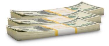 Zehntausenddollarstapel zum Horizont Stockfotos