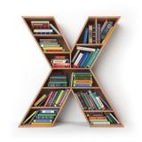 Zeichen X Alphabet in Form von Regalen mit den Büchern an lokalisiert Lizenzfreie Stockfotografie