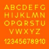 zeichen Alphabet schriftkegel typographisch Weißes transparentes Alphabet auf orange Hintergrund stock abbildung