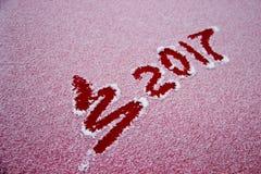 Zeichen 2017 auf dem Schnee Lizenzfreies Stockbild