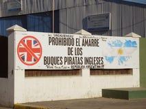 Zeichen auf dem Ushuaia-Hafen Stockfotografie