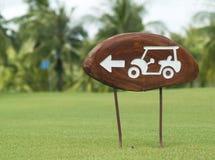 Zeichen auf einem Golfplatz Stockbild