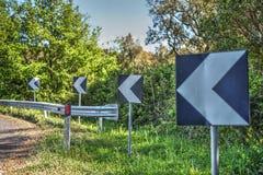 Zeichen auf einer Landstraße Lizenzfreie Stockbilder