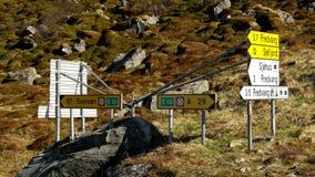Zeichen auf Lofoten Stockbilder