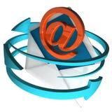 Am Zeichen auf Umschlag zeigt eMail Lizenzfreies Stockbild