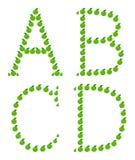 Zeichen - A, B, C, D gebildet vom Apfel Stockbild
