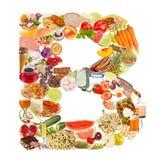 Zeichen B gebildet von der Nahrung Stockfoto
