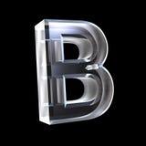 Zeichen B im Glas 3D Stockfotos