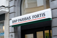 Zeichen BNP-Paribas Fortis stockfotografie