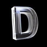 Zeichen D im Glas 3D Stockfotos