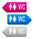 Zeichen 3D mit Toilettensymbolen Stockfotografie