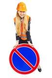 Zeichen Damen-Worker With Road Lizenzfreie Stockfotos