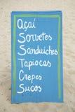 Zeichen, das brasilianisches Strand-Lebensmittel annonciert Lizenzfreies Stockbild