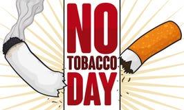 Zeichen, das eine Zigarette für keinen Tabak-Tag, Vektor-Illustration zerreißt stock abbildung