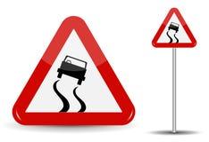 Zeichen, das glatte Straße warnt Im roten Dreieck ist eine flüchtige Maschine, die rutschte Auch im corel abgehobenen Betrag stock abbildung