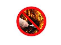 Zeichen, das verbietet, um Feuer zu machen Stockbild