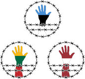 Zeichen der Besetzung der baltischen Staaten Stockbilder