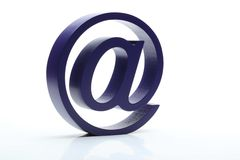 Zeichen der E-Mail 3D auf Weiß Stockbilder