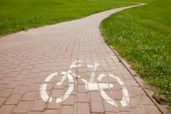 Zeichen der Fahrradstraße in einer Stadt Lizenzfreie Stockfotografie