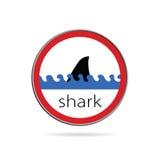 Zeichen der Gefahr von der Haifischillustration Lizenzfreie Stockbilder