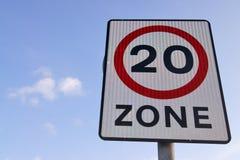 Zeichen der Geschwindigkeit 20mph Stockbilder