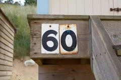 Zeichen der Hausnummer 60 Stockfotografie