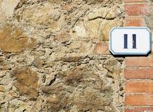 Zeichen der Hausnummer 11 Lizenzfreies Stockbild