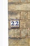 Zeichen der Hausnummer 22 auf Wand Stockfotografie